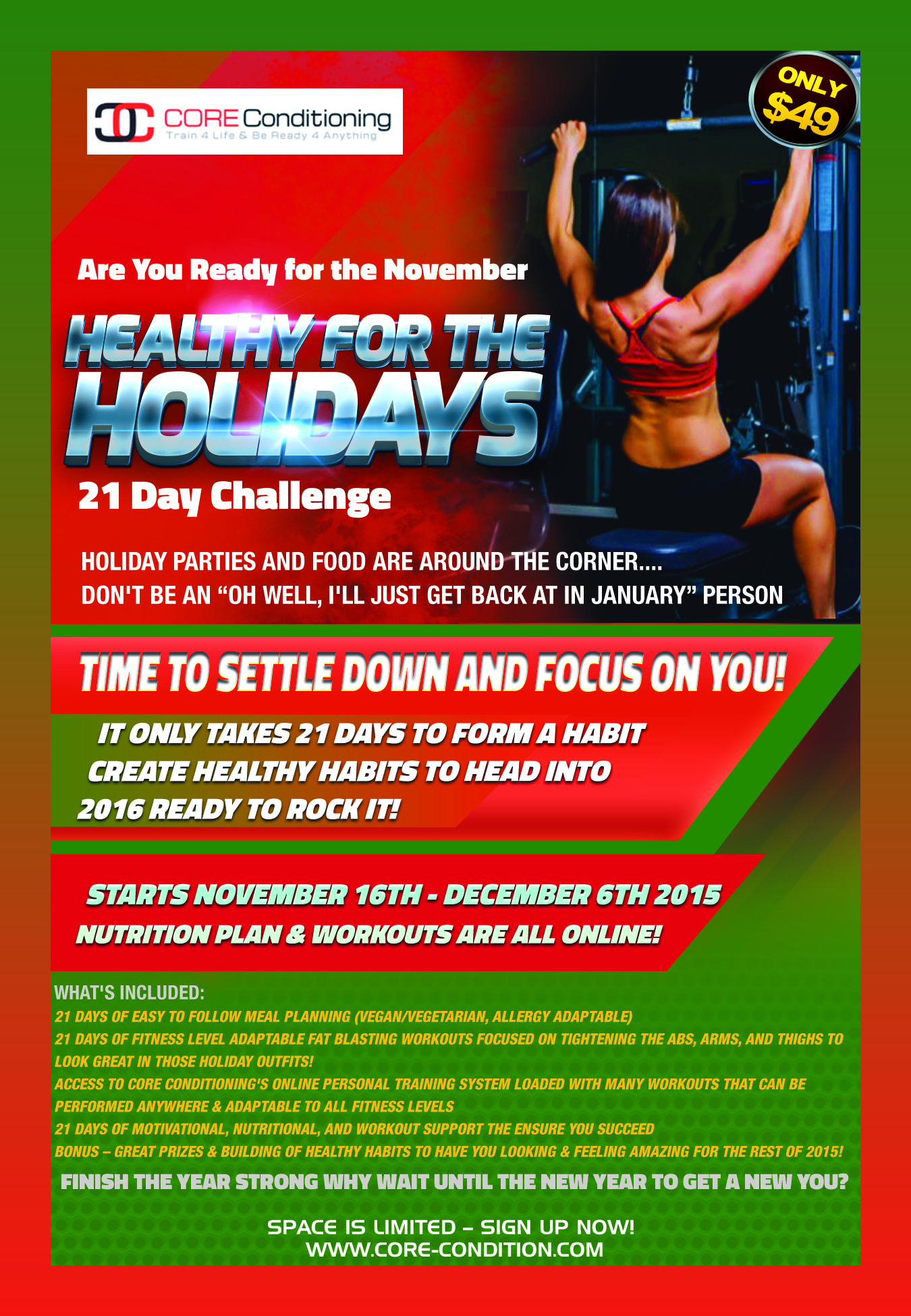 Are You Up For the Challenge? Register Now for the November Healthy For The Holidays 21 Day Challenge