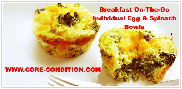 Healthy Breakfast On-The-Go – Individual Egg & Spinach Bowl